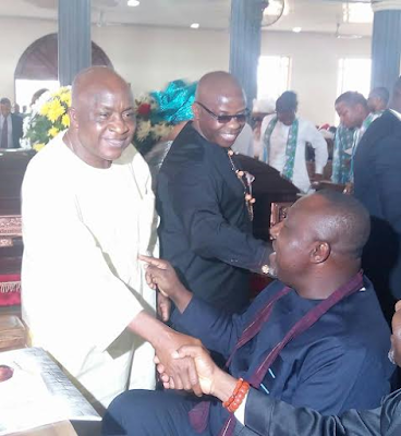 Rochas Okorocha and former Imo State Governors Ikedi Ohakim, Achike Udenwa spotted together at a burial