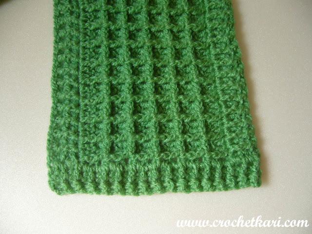 Crochet waffle stitch scarf border