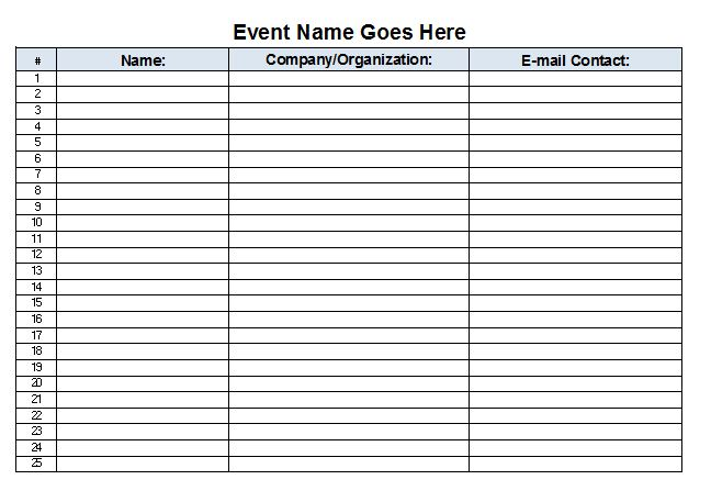 free sign in sheet template Template – Word Sign in Sheet Template
