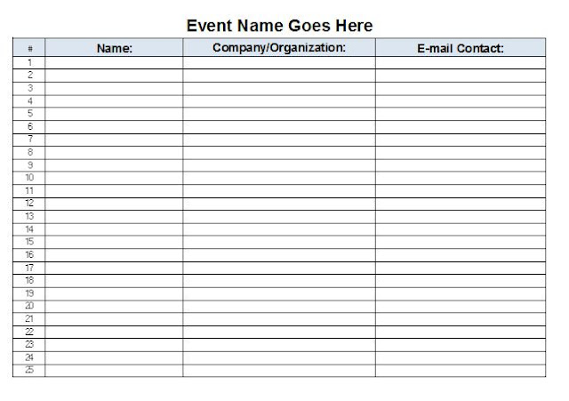 Microsoft Excel Template Event Planning – Sample Contact Sheet
