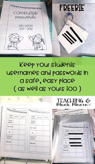 Keep your students passwords organized with this freebie