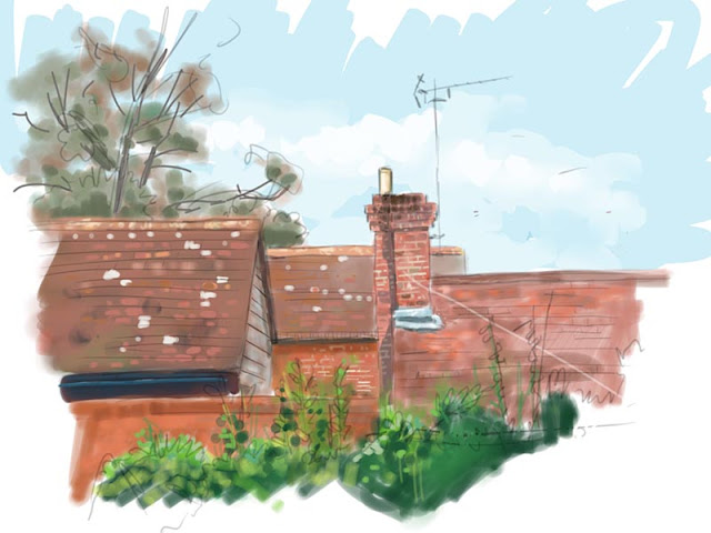 red tiled rooftops drawing