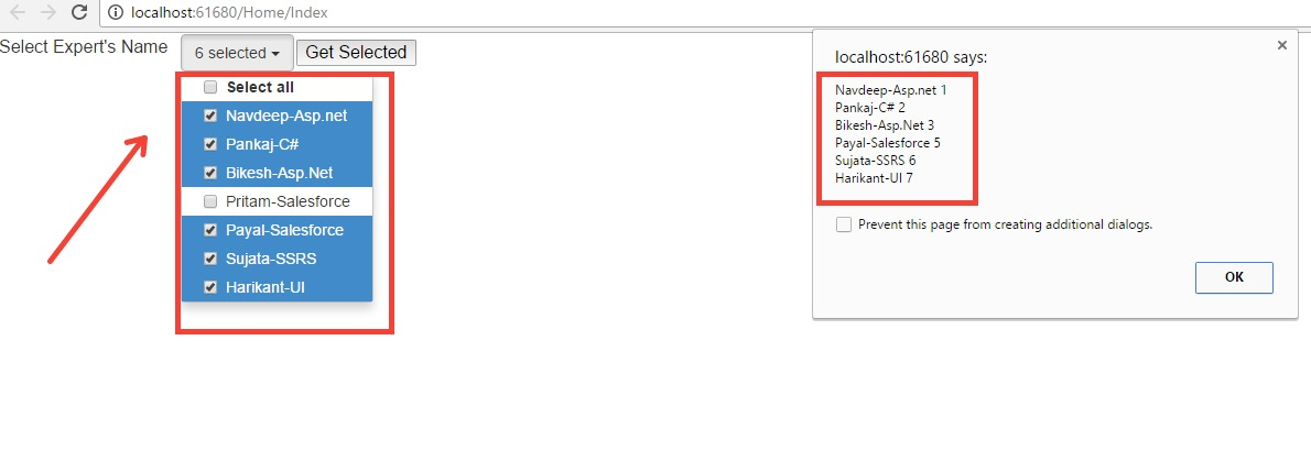 Dropdown with Multiple checkbox select with jQuery in MVC 5 ~ ASP
