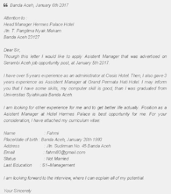Contoh Surat Lamaran Kerja Dalam Bahasa Inggris dan Artinya