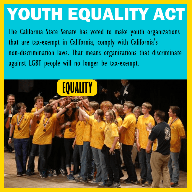 Children support the Youth Equality Act, and the bill was passed in the California state Senate.