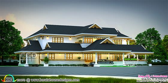 Luxury traditional Kerala home 5890 sq-ft