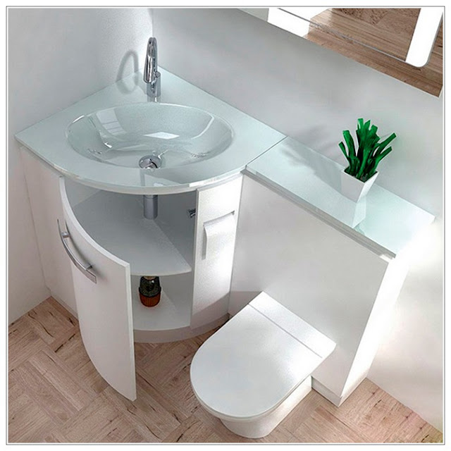 glass corner bathroom sink design with cabinet white color with tankless toilet