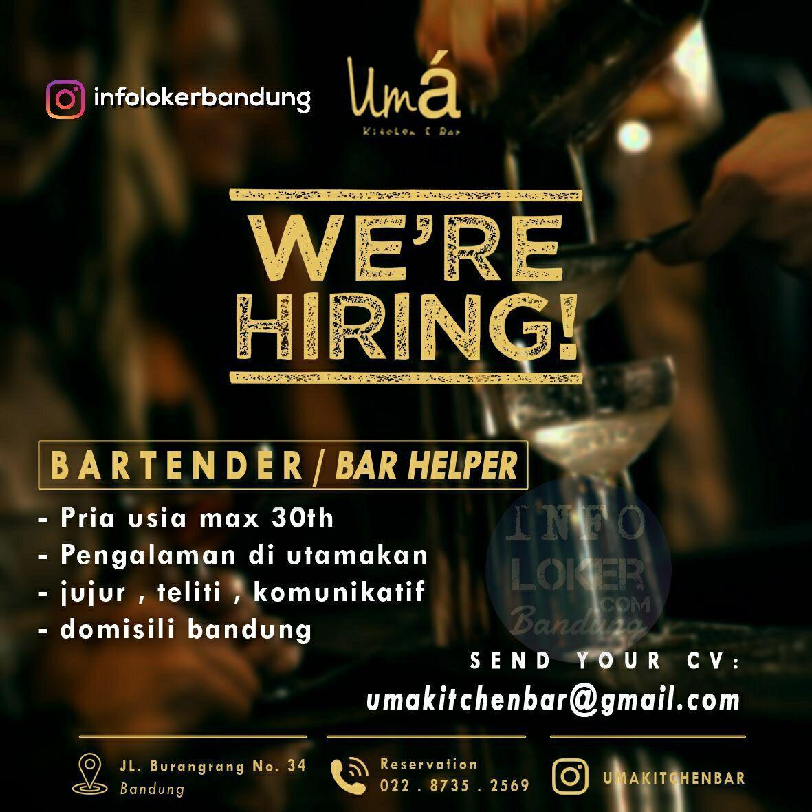 Lowongan Kerja Bartender / Bar Helper Uma Kitchen & Bar Februari 2018
