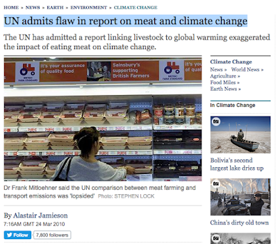 UN admits flaw in report on meat and climate change