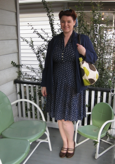1940s plus size day dress and rayon swing jacket with victory rolls