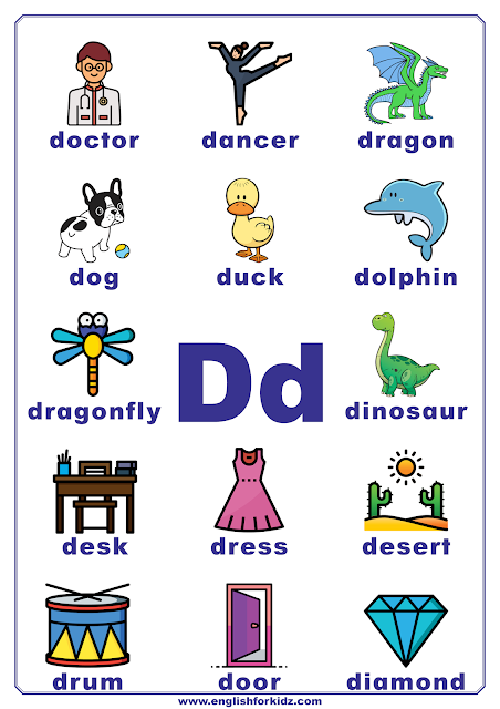 Printable alphabet poster - letter D with pictures - classroom wall decoration