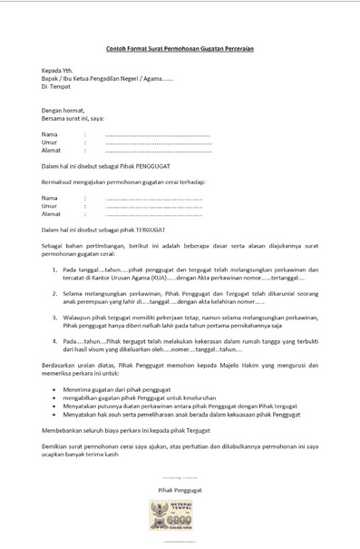 10 Contoh Surat Pernyataan Cerai Yang Benar Terlengkap