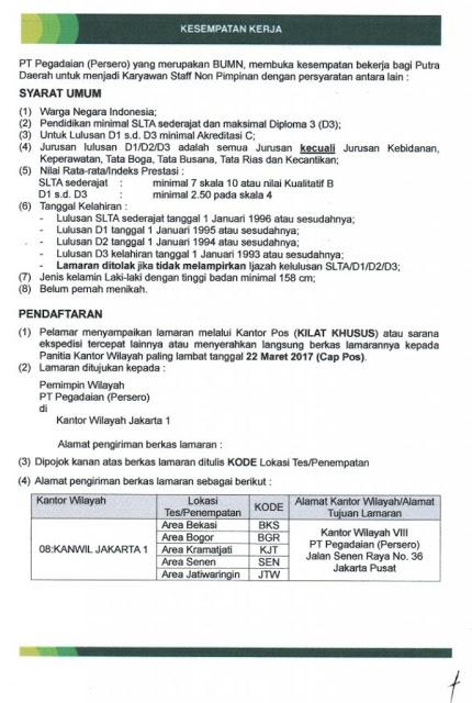 Penerimaan Karyawan Staff Non Pimpinan PT Pegadaian (Persero)