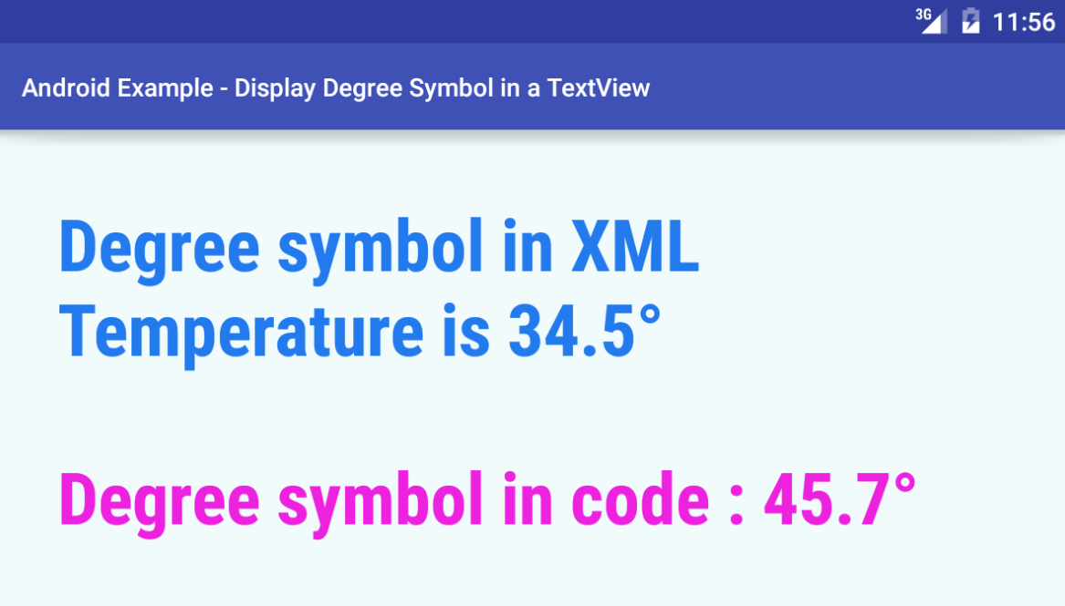 Android Display Degree Symbol In A Textview