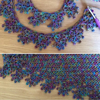 Collage of two photographs showing the development of a crochet shawl