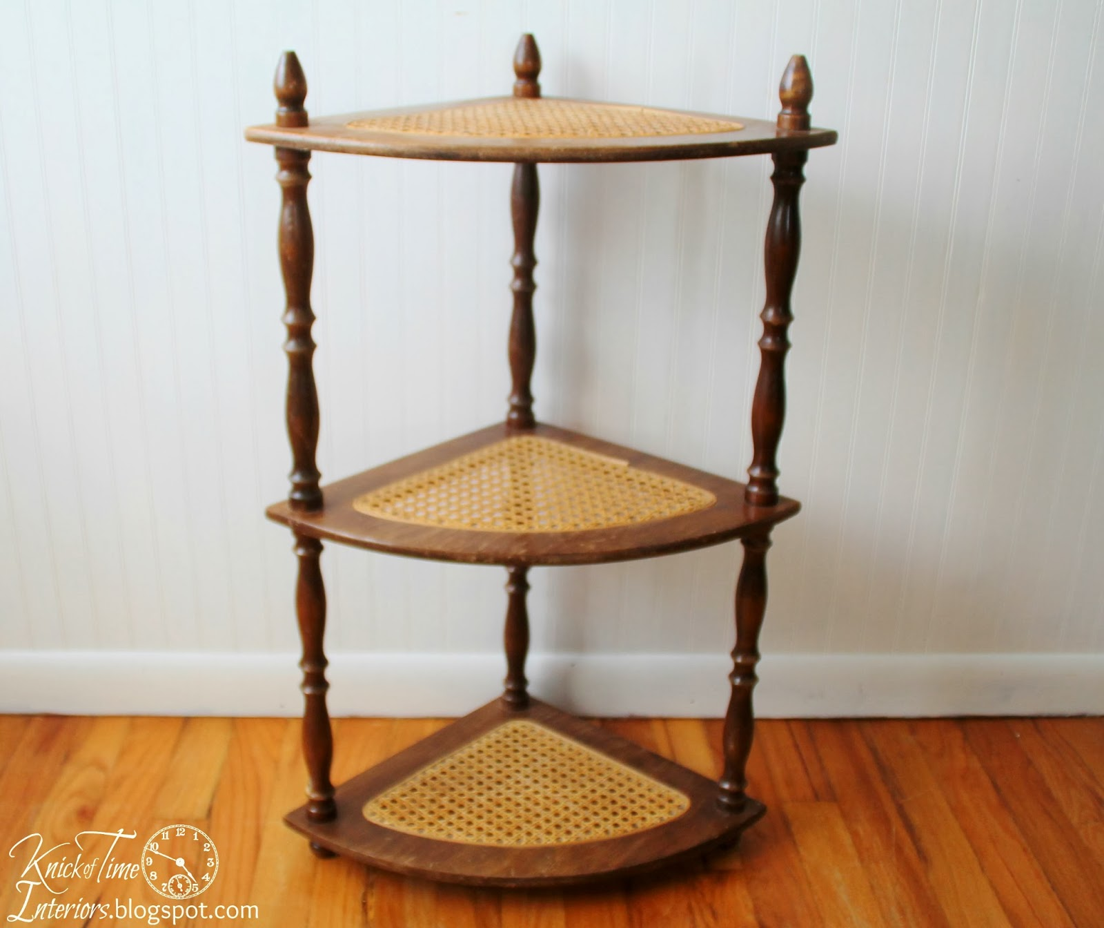 Caned Wooden Corner Shelf Stand | Knick of Time