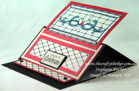 #thecraftythinker  #stampinup  #cardmaking  #sneakpeek  #funfold  #gracefulglass , sneak peek, Graceful Glass, Easel Card, Fun Fold, Ink It Stamp it, Stampin' Up Australia Demonstrator, Stephanie Fischer, Sydney NSW