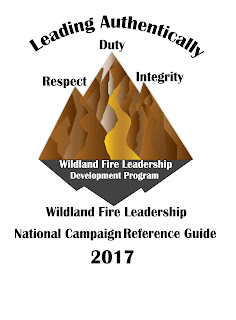 Wildland Fire Leadership National Campaign - Leading Authentically logo 3-tiered mountain in brown and yellow hues with duty, respect and integrity at the peaks.