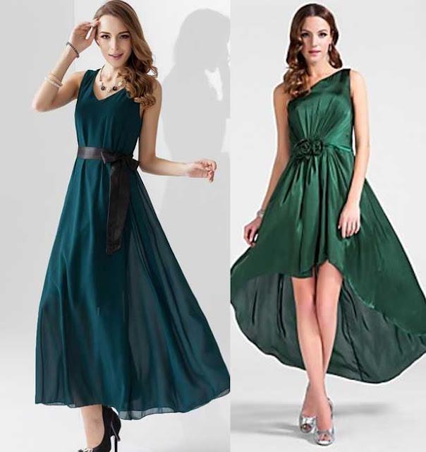 vestido verde zapato plateado