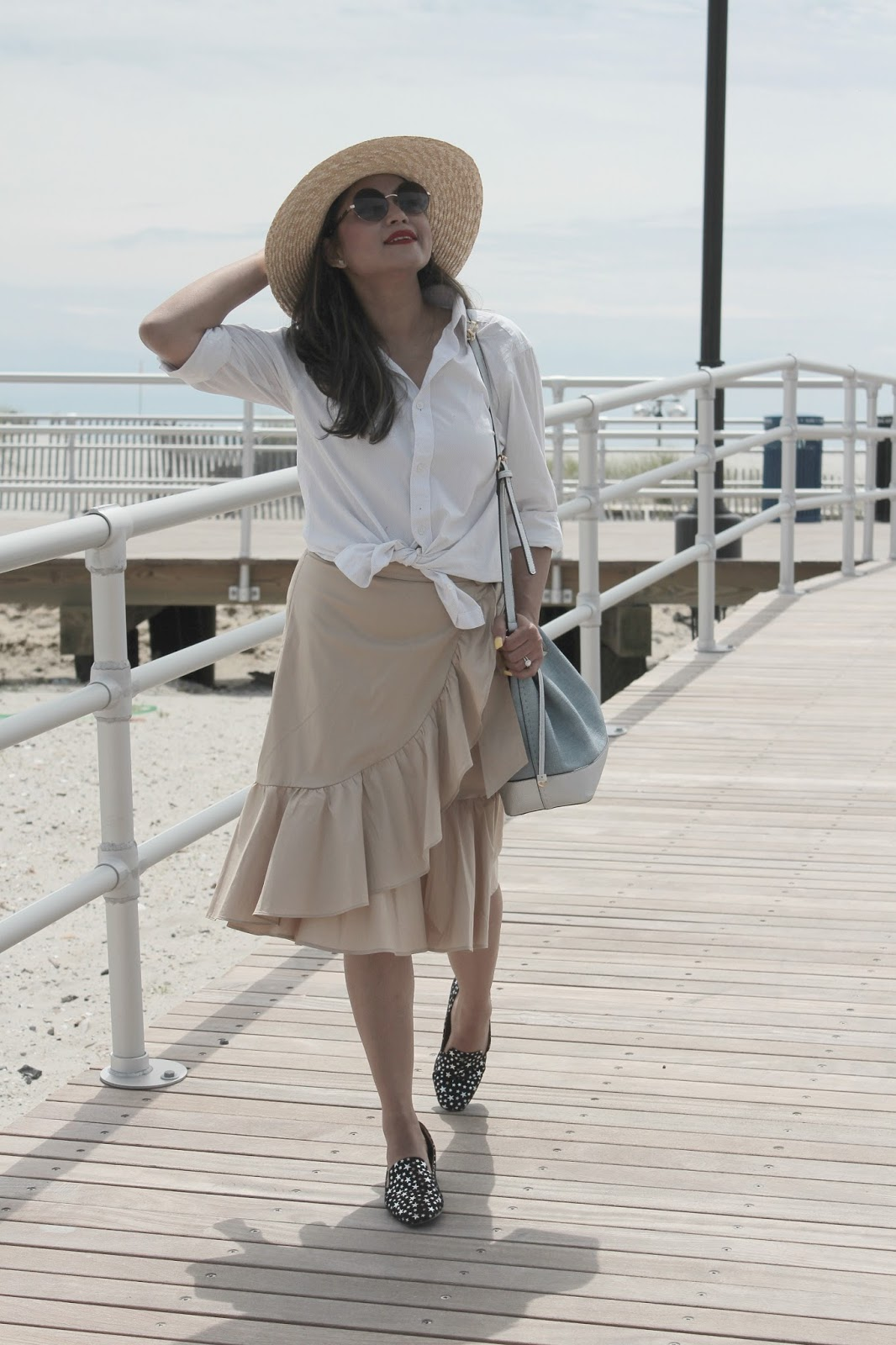 loft wrap skirt, red white and blue, fashion, ootd, street style, beige skirt, white boyfriend shirt, style blogger, white button down, summer style, seeing stars , myriad musings