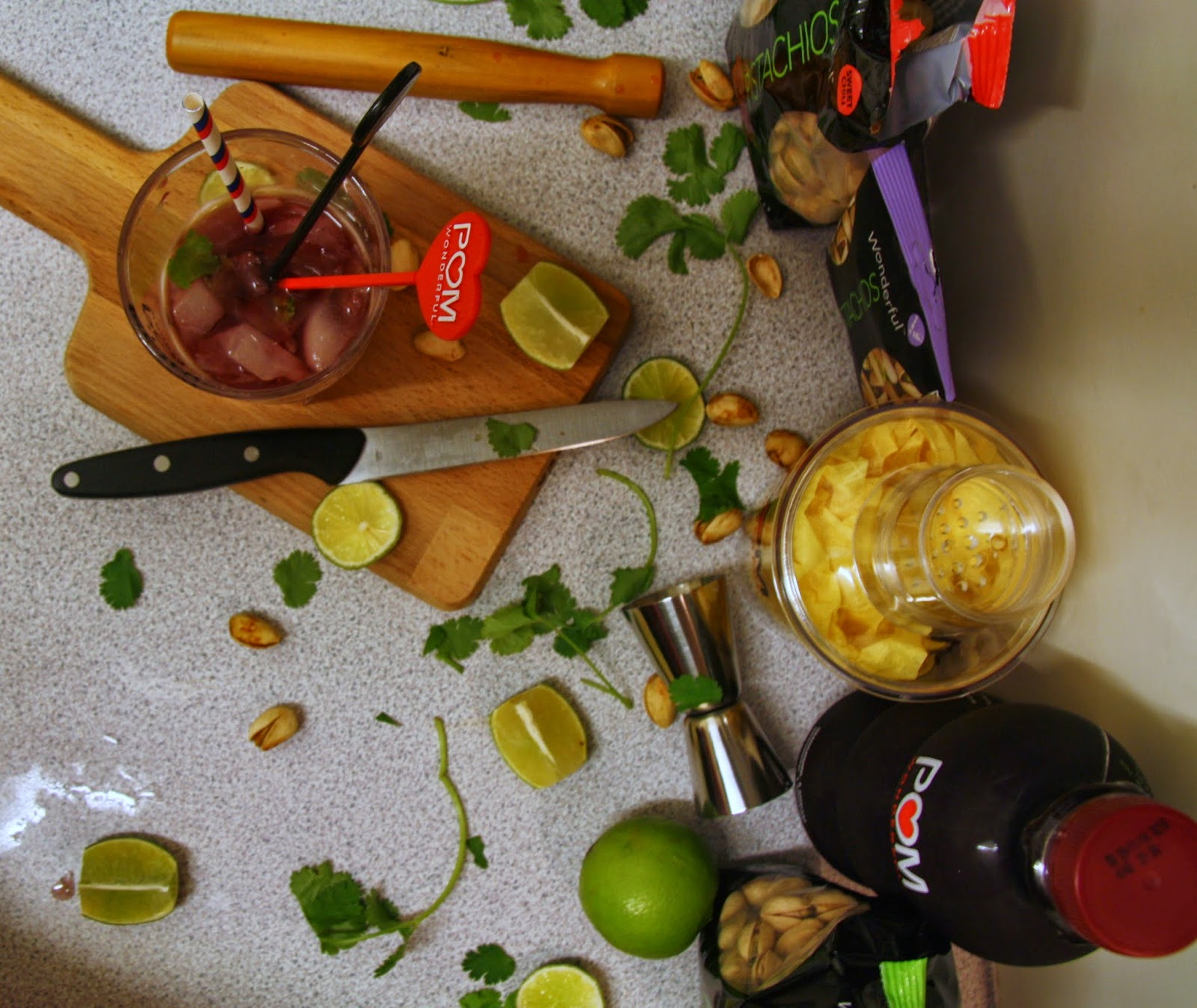 Messy cocktail making with Pom Wonderful and Wonderful Pistachios from Anyonita Nibbles