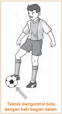 Gambar illustrasi Teknik mengontrol bola dengan kaki bagian dalam