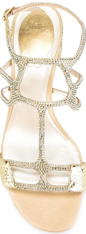 Rene Caovilla Gold Embellished Sandal