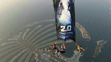 2.0 Audio Launch Dubai | Live Poster Skydive | Rajnikanth Akshay Kumar Amy Jackson