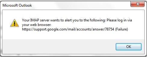 Microsoft Outlook is unable to add Gmail Account