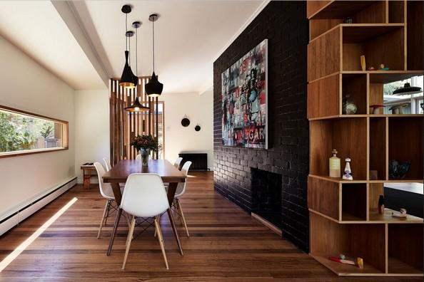 Moderne Esszimmer Mit Backsteinwand Schwarz Design