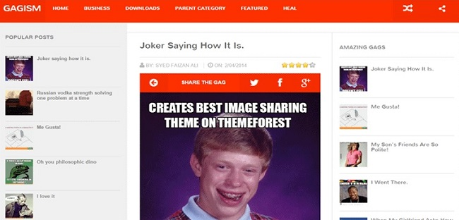 Gagism 9GAG Style Responsive Blogger Template