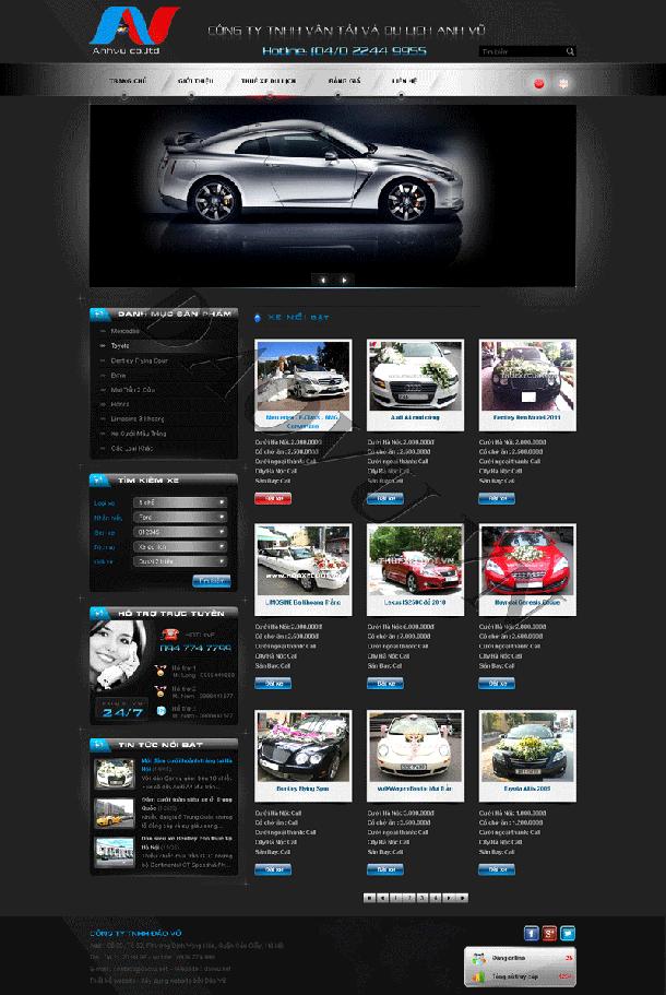 thiết kế website bán hàng cho thuê xe đẹp