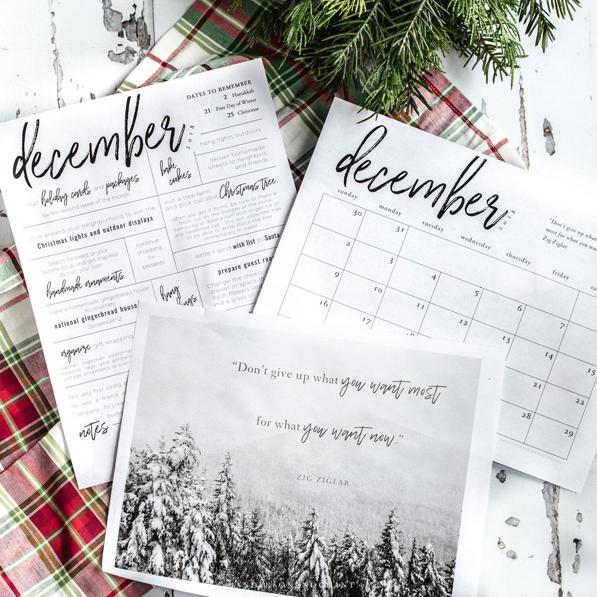 Free December Printables