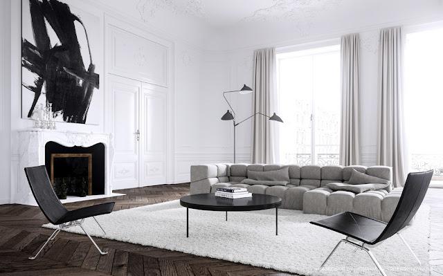 Noir blanc un style for Appartement haussmannien deco
