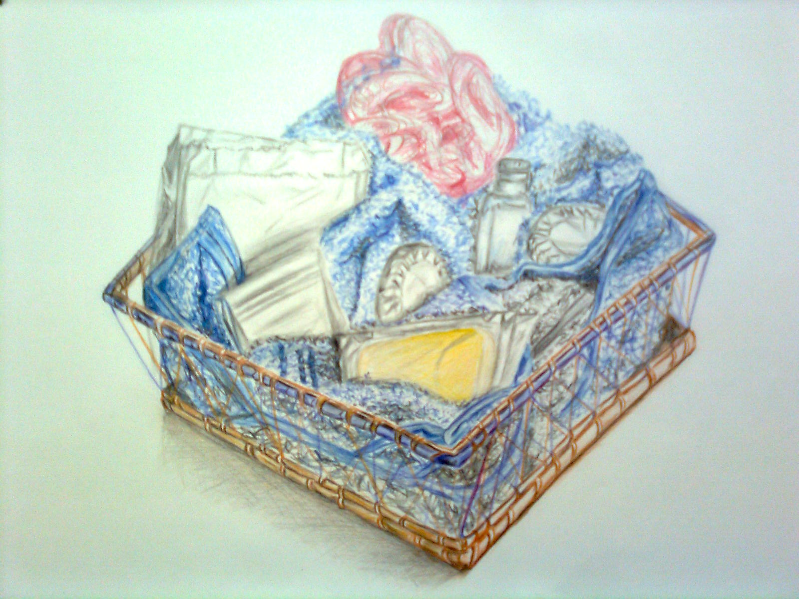 New Beginnings: Pencil crayon drawing of a soap composition