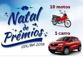 Cadastrar Promoção CDL BH Natal 2018 de Prêmios - 10 Motos 1 Carro