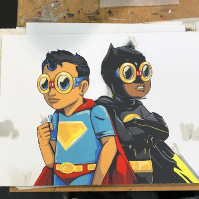 "New York Comic Con 2017 Exclusive Batman & Superman ""Martha's Boys"" Screen Print by Hebru Brantley"