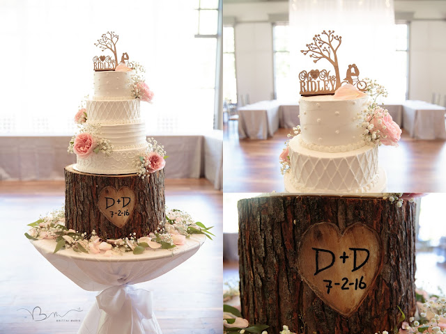 rustic wedding cake at Noah's Event Venue in Auburn Hills Michigan