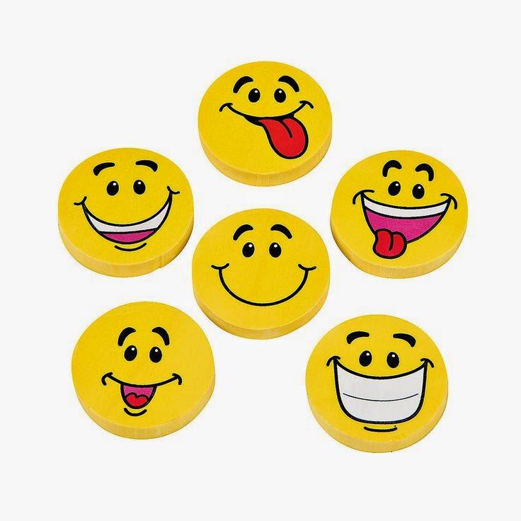 Emoji Party Ideas; smiley face erasers