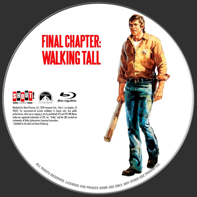Final Chapter: Walking Tall (1977) Bluray Label