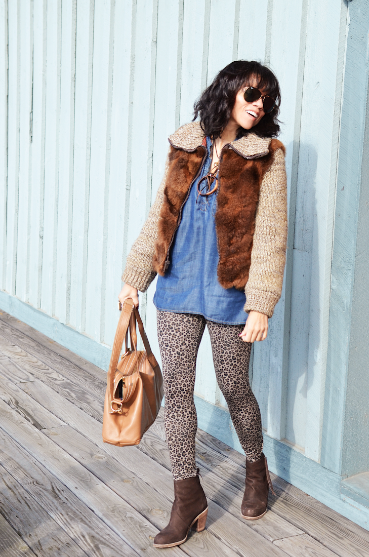 Leopard Pants Fur Coat Brown Booties