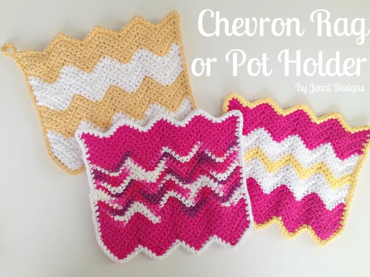 By Jenni Designs Free Crochet Pattern Chevron Rag Or Pot Holder