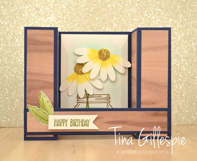 scissorspapercard, Stampin' Up!, Daisy Delight, Sunshine Sayings, Jar Of Love, Wood Textures DSP, Bridge Fold Card