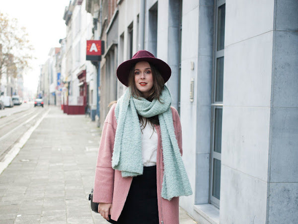 Outfit: insect loafers and pink coat