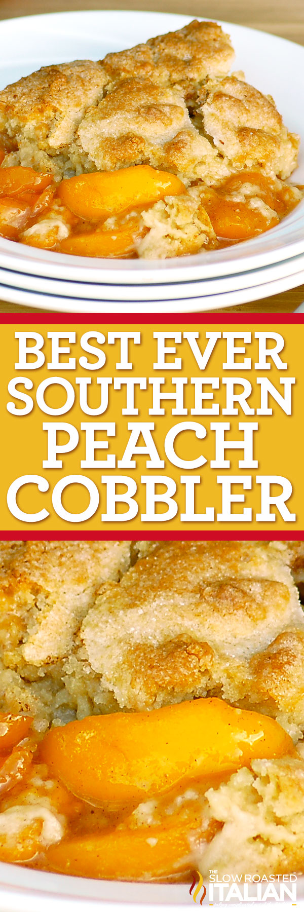 titled image (and shown): Best Peach Cobbler
