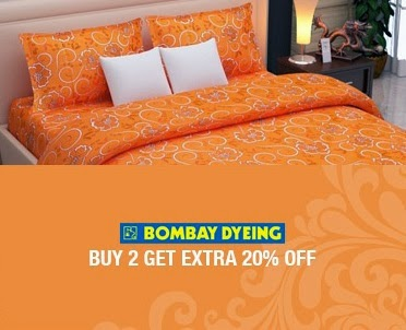 Jabong Offer on Bombay Dying Double Bed Sheets : Flat 20% Off + 20% Extra Off on Purchase of 2 BedSheets