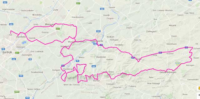 Kuurne-Bruxelles-Kuurne route map
