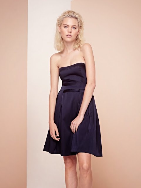 French Connection dark blue satin dress