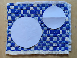 circle templates on top of quilted panel
