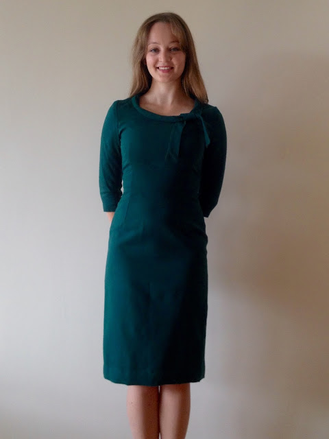 Diary of a Chain Stitcher: Bottle Green Wool Sew Over It Joan Dress